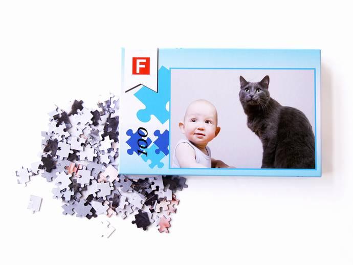 Fotopuzzel met 100 puzzelstukjes en luxe doos